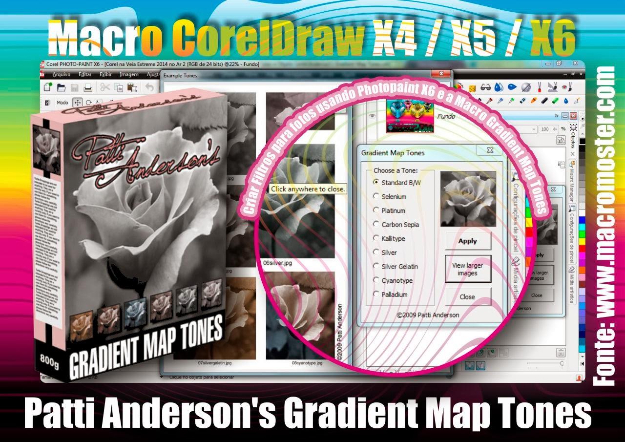 CorelPhotoPaint X6 e X7 com a Macro Gradient Map Tones