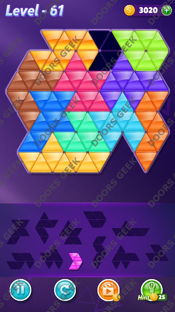 Block! Triangle Puzzle Challenger Level 61 Solution, Cheats, Walkthrough for Android, iPhone, iPad and iPod