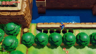 Link crossing the holes at the castle moat with the Flying Rooster