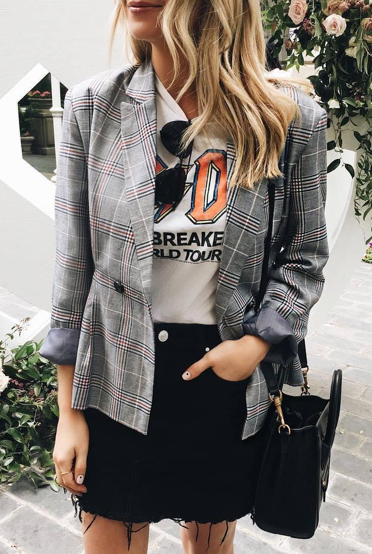 how to style a black denim jacket : plaid blazer + bag + printed tee