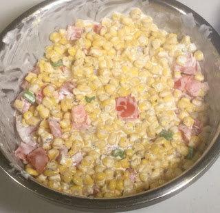 Make a simple creamy corn salad, creamy cold corn salad, creamy summer corn salad, creamy corn salad