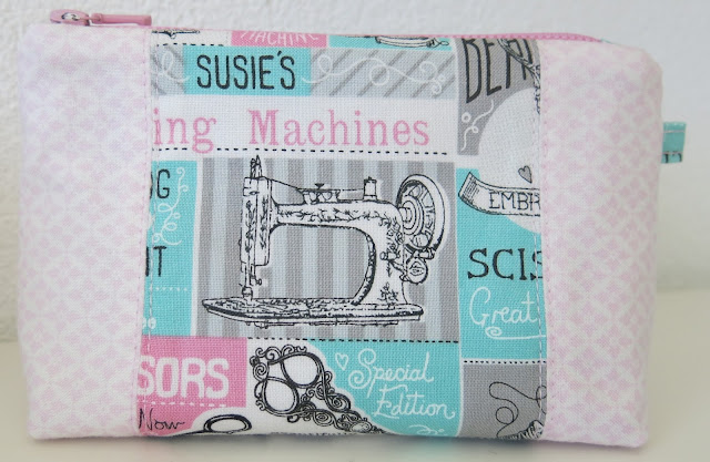 Zip pouch - Pattern from Michelle Patterns - Sewing theme fabric