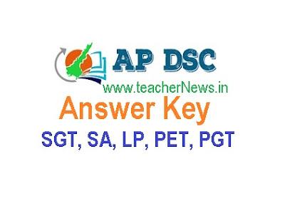 AP DSC SGT Answer Key 2018-19 Andhra Pradesh SGT, PET, LP, SA Official Key