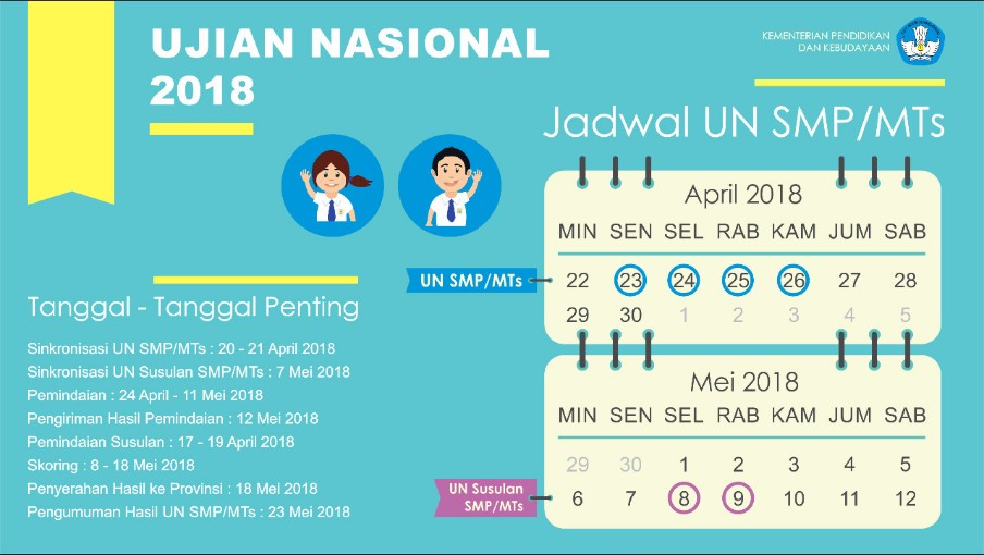 >Jadwal dan Rencana UN UNBK US dan USBN 2018-Mardiyas.Com