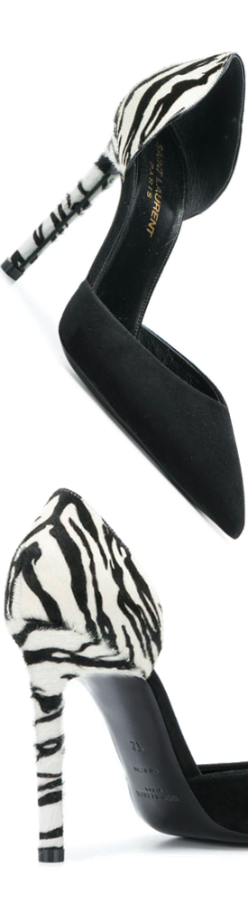 SAINT LAURENT Animal Print Pump in Black/White