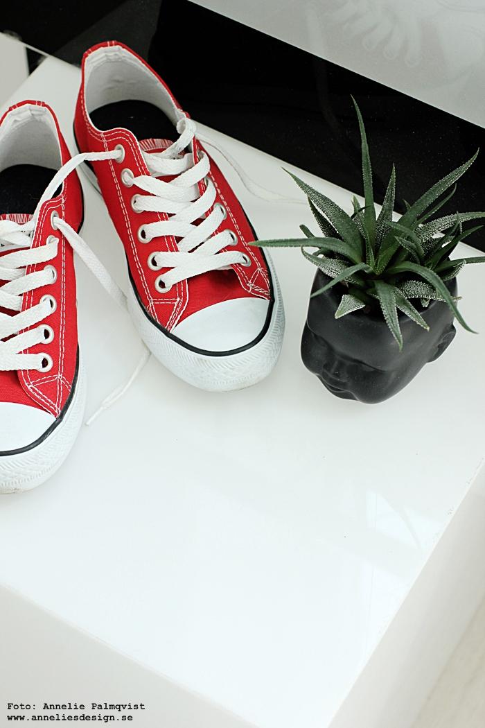 kruka ansikte, krukor, ansiktet, webbutik, webbutiker, webshop, inredning, annelies design, inredningsdetaljer, svart vitt och rött, röda converse, skor, walk in closet, wic, röda skor, interior, interiör, detaljer,