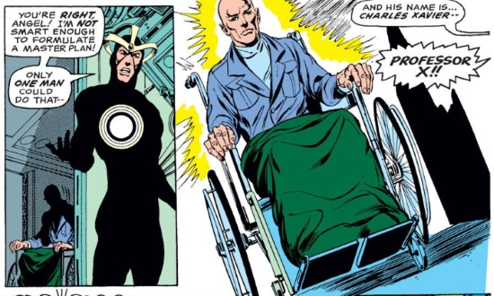 Two panels side by side. In the first, a white man wearing a skintight black costume gestures as wheel-chair user hovers in the shadows behind him. His dialogue reads, 'You're RIGHT, Angel! I'm NOT smart enough to formulate a master plan! Only ONE MAN could do that--