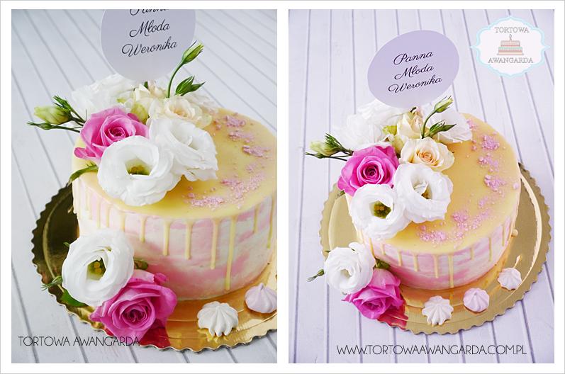 artystyczny akwarelowy tort w kremie bez masy z kwiatami drip oblany czekoladą Warszawa