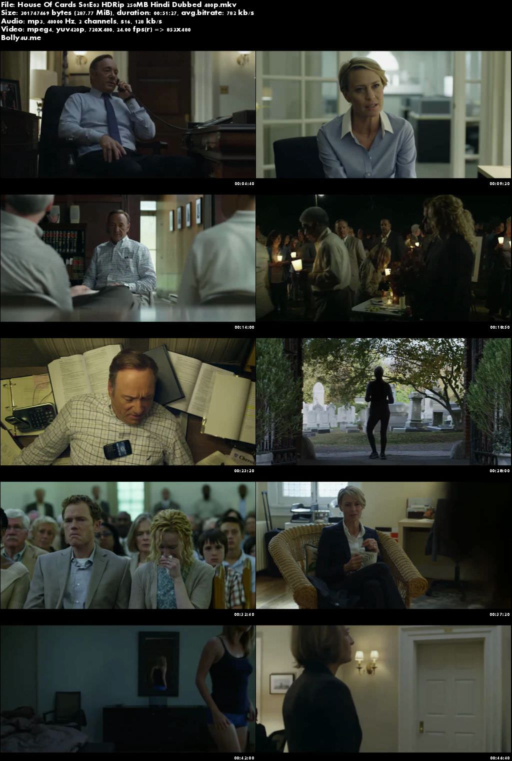 House Of Cards S01E03 HDRip 250MB Hindi Dubbed 480p Download