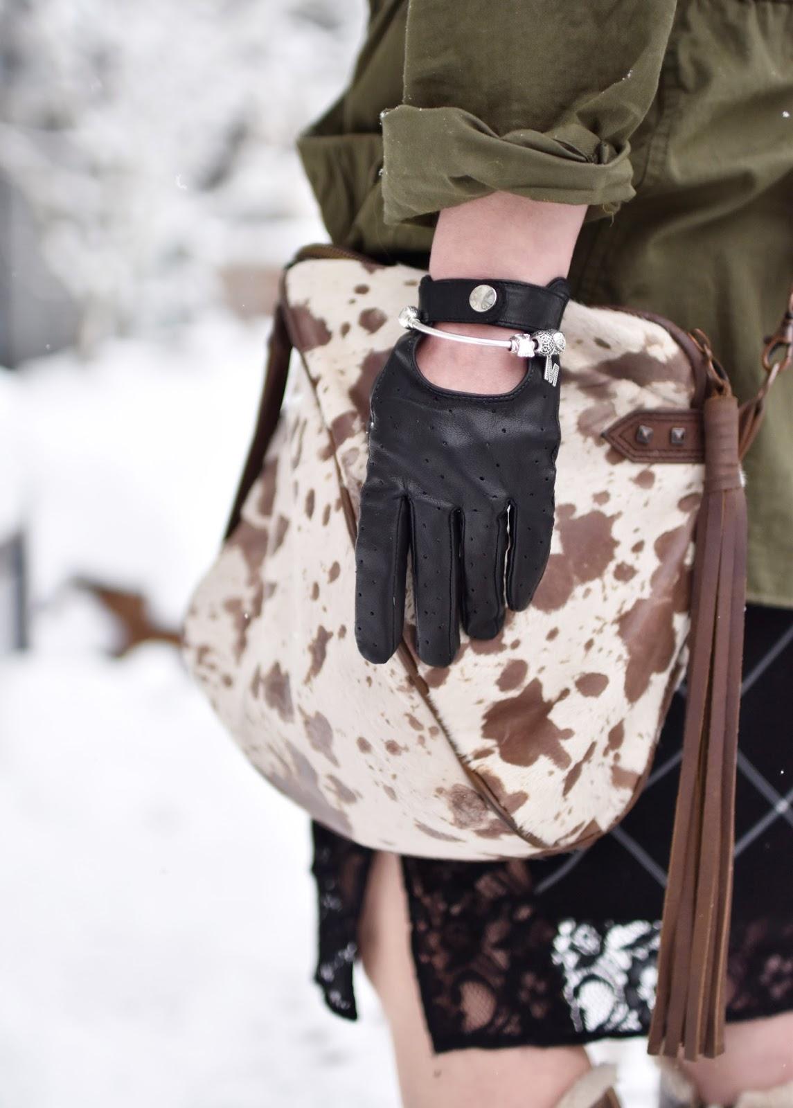 Monika Faulkner outfit inspiration - plaid slipdress, pony-hair cross-body bag, driving gloves