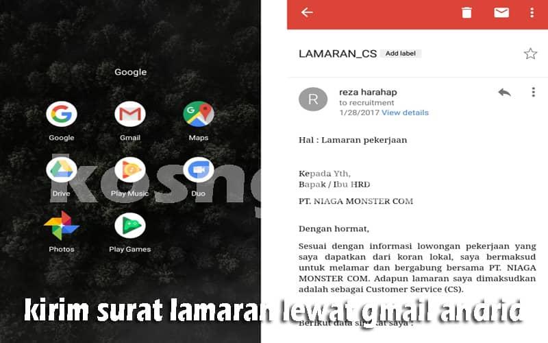 cara kirim surat lamaran gmail android