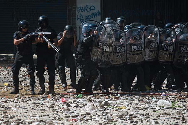 Represión y balas de goma en Buenos Aires, diciembre 2017