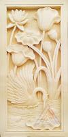 Relief bunga lotus dan bangau