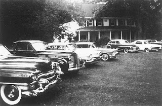 Mobsters' cars outside the meeting in Apalachin, New York State, where Profaci was arrested in 1957