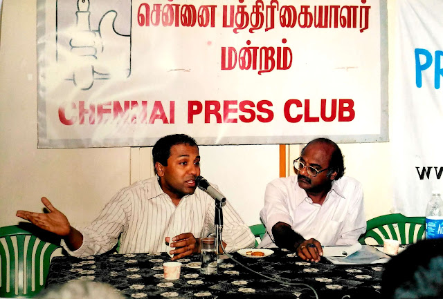 Prof. Sreenath Sreenivasan and K. Srinivasan at Chennai Press Club