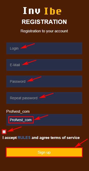 Регистрация в InvIbe 2