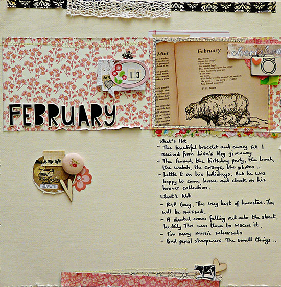 monthly round-up layout by Sian from From High in the Sky