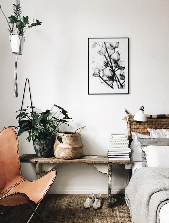De l'osier, des plantes et de jolies illustrations pour la chambre