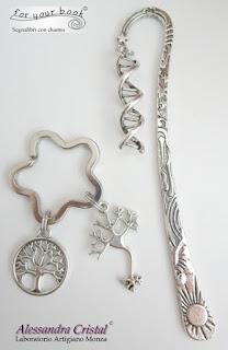 segnalibro metallo ciondolo DNA portachiavi neurone albero della vita