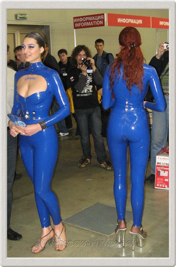 Girls in blue rubber suits. Photoforum - 2008, Moscow.