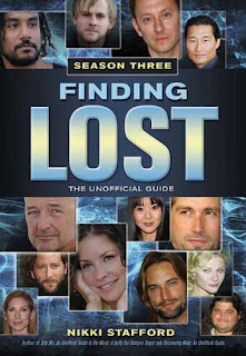 cover to Nikki Stafford's 'Finding 'Lost': The Unofficial Guide, Season Three' depicting the title and other copy mostly in blue amidst head shots of the cast over a background of water