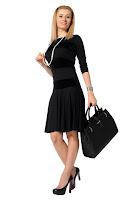 Rochie neagra cu dungi din catifea model R31 (Ama Fashion)