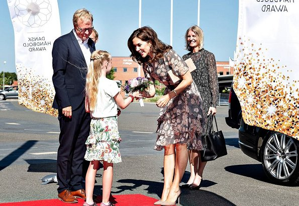 Crown Princess Mary wore JASON WU Floral Glen Plaid Silk Chiffon Tiered Dress, Gianvito Rossi Pumps and Hugo Boss clutch bag