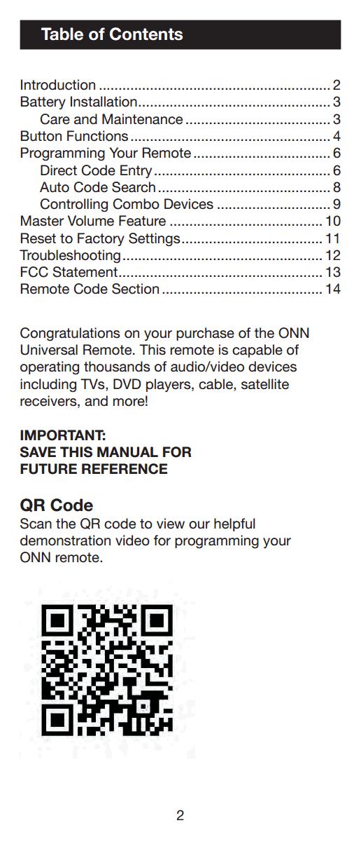 Remote Onn Manual Control