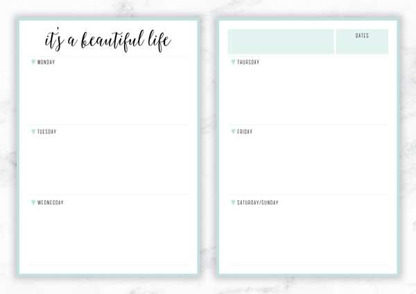 Free Printable Irma 'It's a Beautiful Life' Weekly Planner by Eliza Ellis - The perfect organizing solution for mums, entrepreneurs, bloggers, etsy sellers, professionals, WAHM's, SAHM's, students and moms. Available in 6 colors and both A4 and A5 sizes. Enjoy!