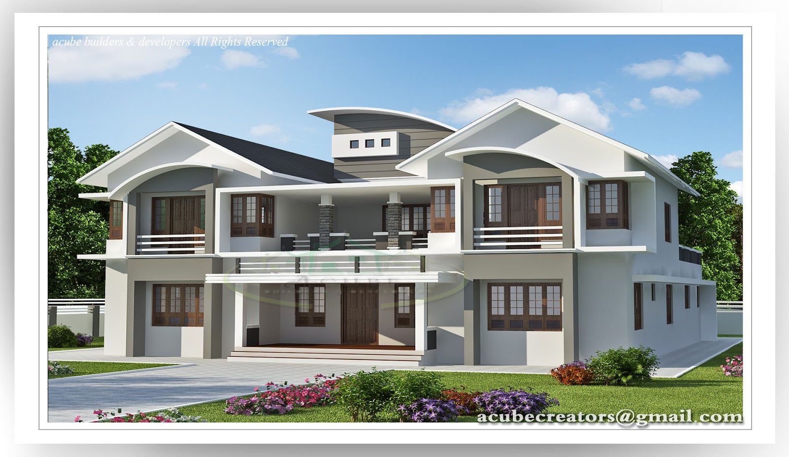6 bedroom luxury villa design 5091 plan 149 for Luxury two bedroom house plans
