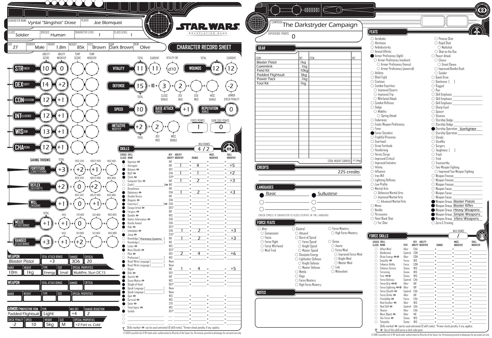 Star Wars Roleplaying Game Revised Core Rulebook Character
