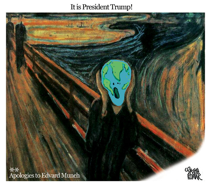15+ Cartoonists Around The World Illustrate How They Feel About Trump Becoming President - President Trump!