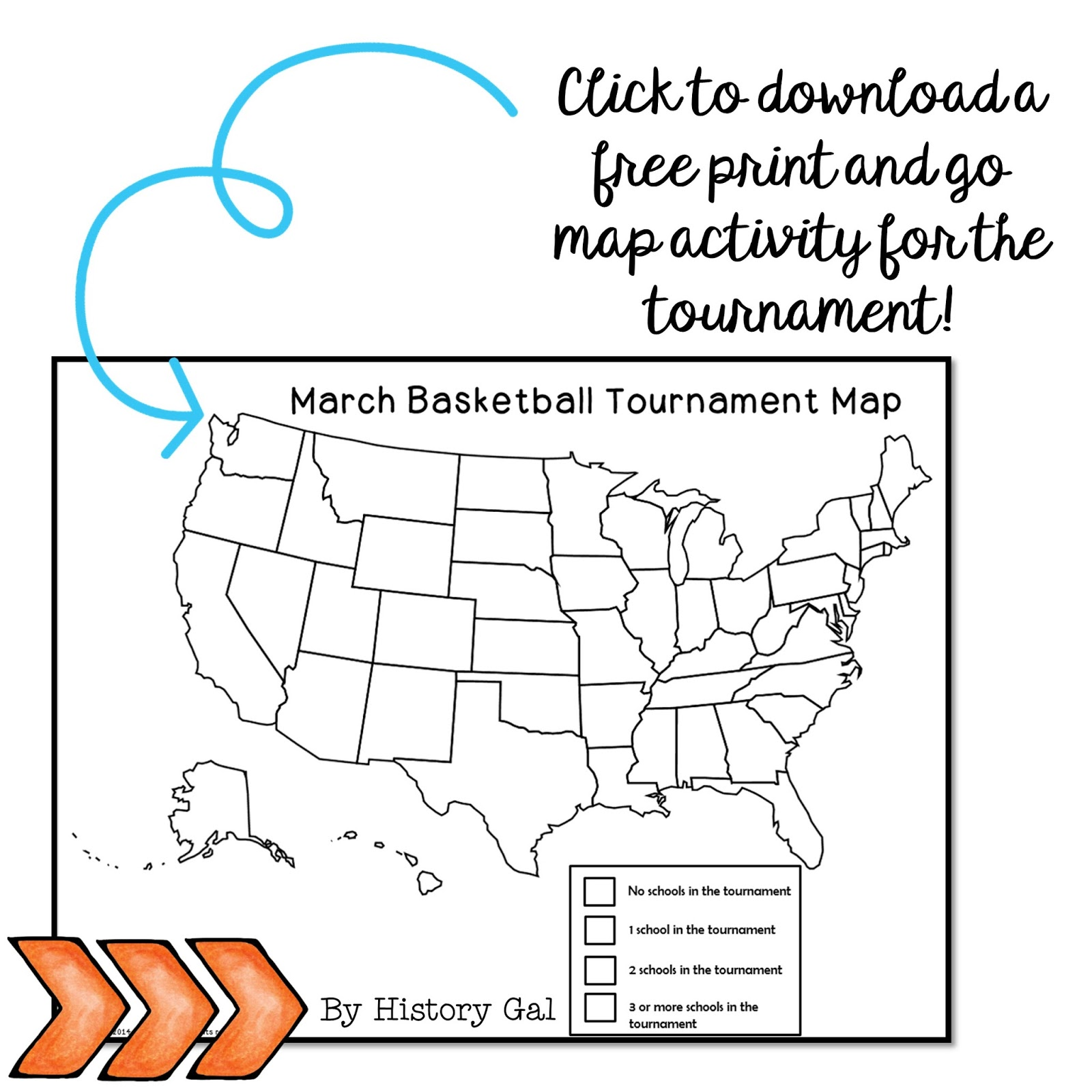 Free Men's College Basketball Tournament Activity from History Gal