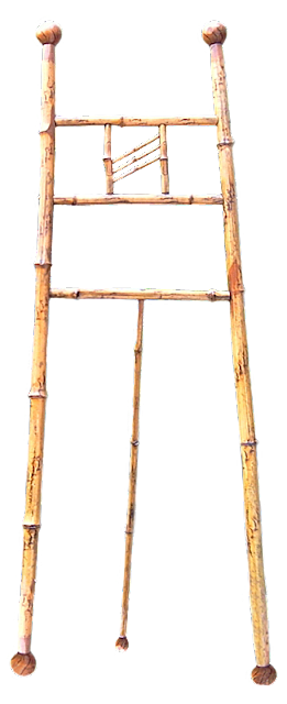 A vintage easel from cane or bamboo wood; this designed to simply display a painting in a drawing room rather than for the use of an artist.