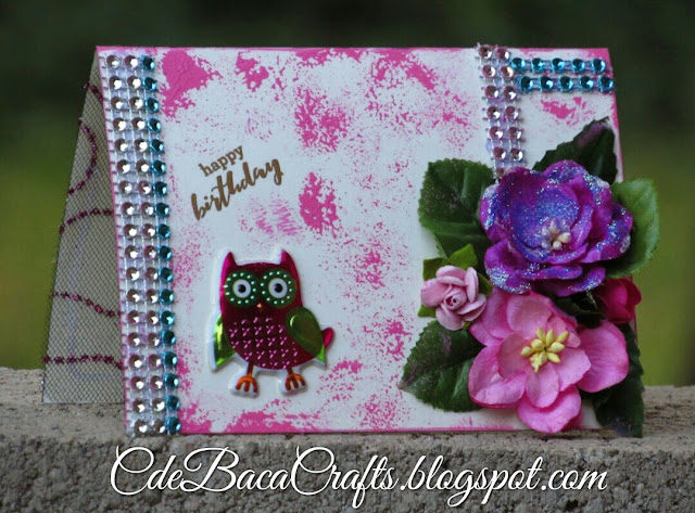 Handmade happy birthday card with owl stickers and paper flowers by CdeBaca Crafts.