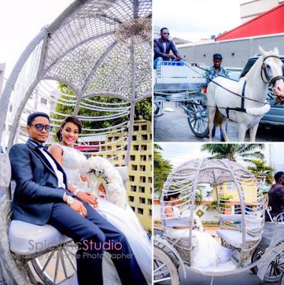 Photos: Couple make grand entrance to their wedding reception venue riding in a Horse carriage