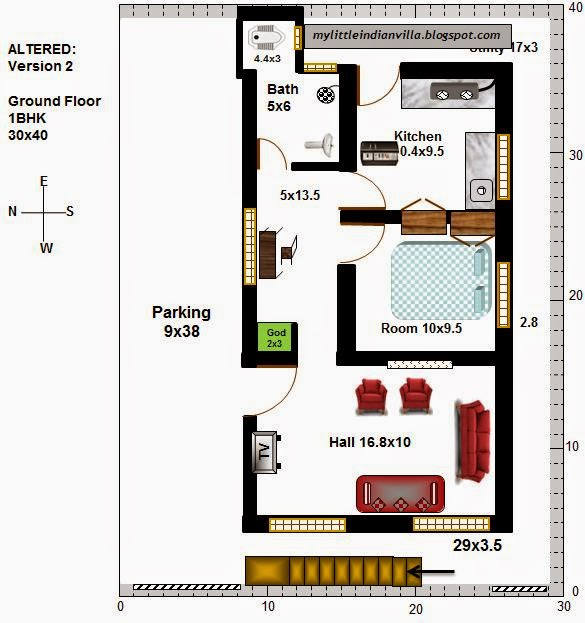 15 X 40 House Plan East Facing With Car Parking: My Little Indian Villa: #16#R9 2BHK In 30x40 (West Facing