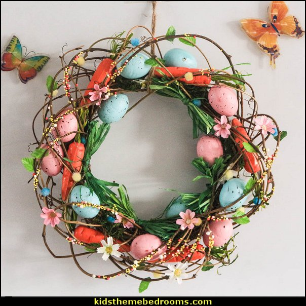 Spring Easter Eggs flowers Rattan Wreath Party Decoration  Peter Rabbit party supplies - Peter Rabbit Party Ideas - Peter Rabbit Party Theme  decorations - Peter Rabbit birthday party decorations - Peter Rabbit spring garden party decorating - garden party - Carrots Chocolate Candy molds  -  Carrot cake cookie molds - flower decorations - bunny party sweets - bunny party supplies