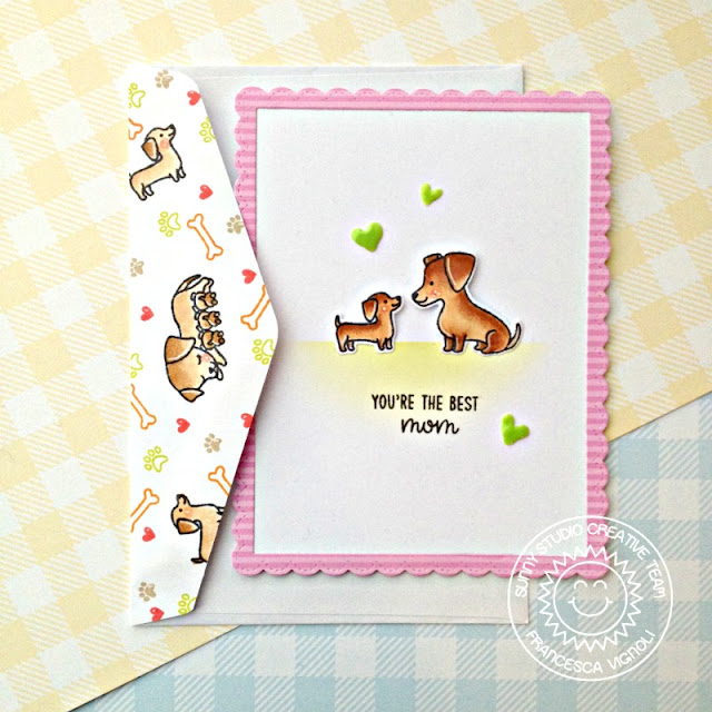 Sunny Studio Stamps: Puppy Parents Fancy Frames Rectangles Mother's Day Card by Franci Vignoli