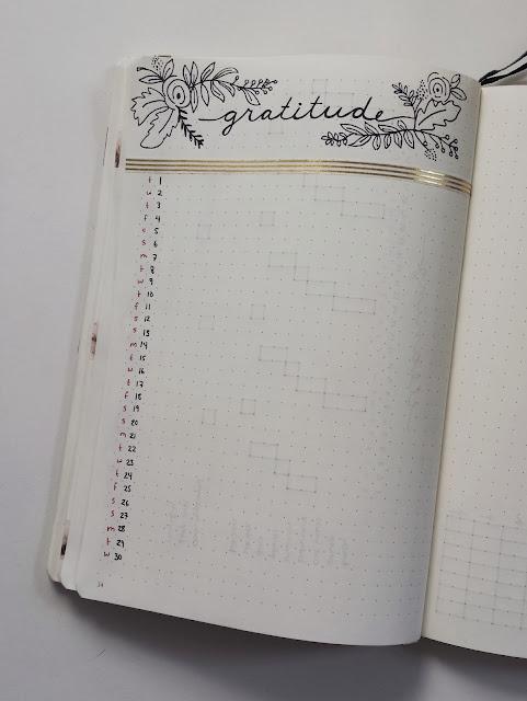 November Bullet Journal Gratitude Layout