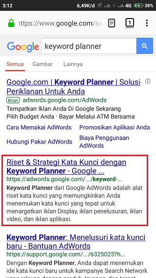 Masuk Keyword Planner Dari Google