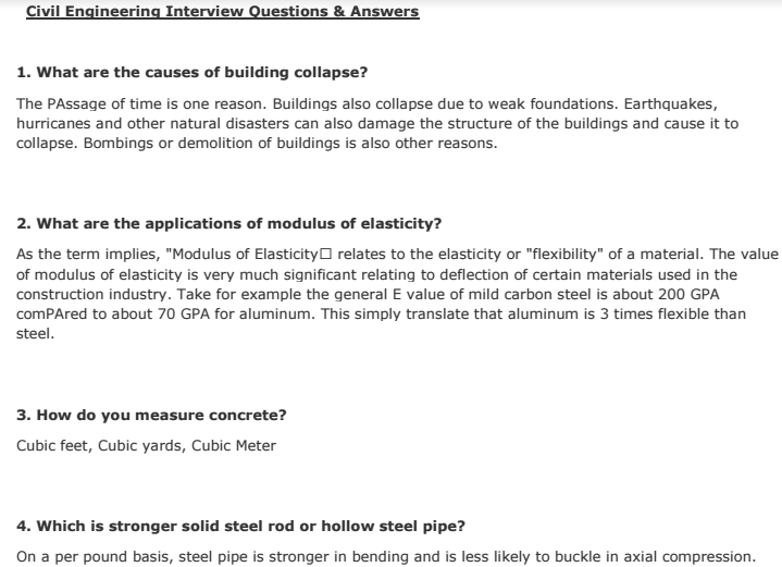 civil engineering faq technical interview viva questions answers  matterhere