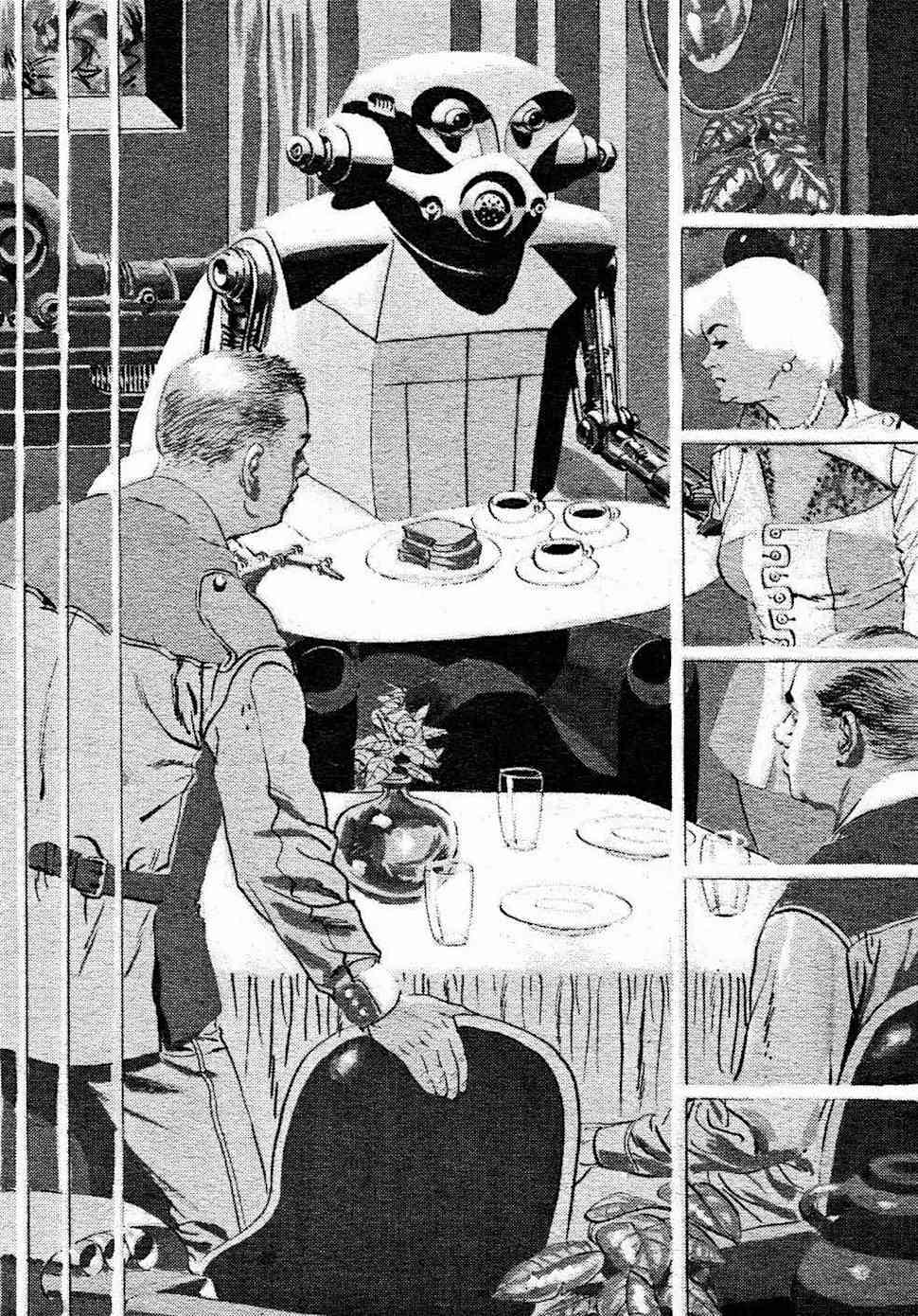 a Wallace Wood illustration of a menacing looking robot server of tea