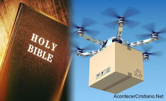 Drones lanzan miles de Biblias
