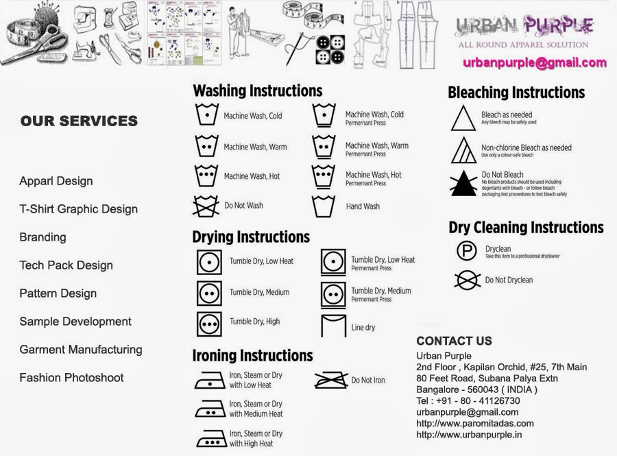 Care Instructions and Brand Management ( Tech Pack Design )