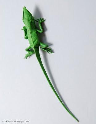 Lagartija de papel Papiroflexia u origami.