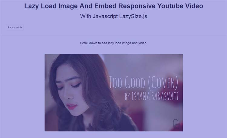 Lazy Load Image And Embed Responsive Youtube Video With Javascript LazySize.js