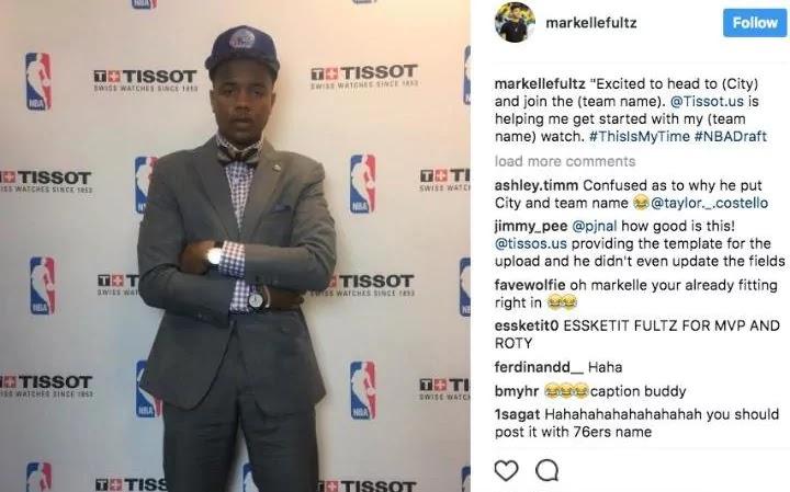 Markelle Fultz makes embarrassing Instagram gaffe