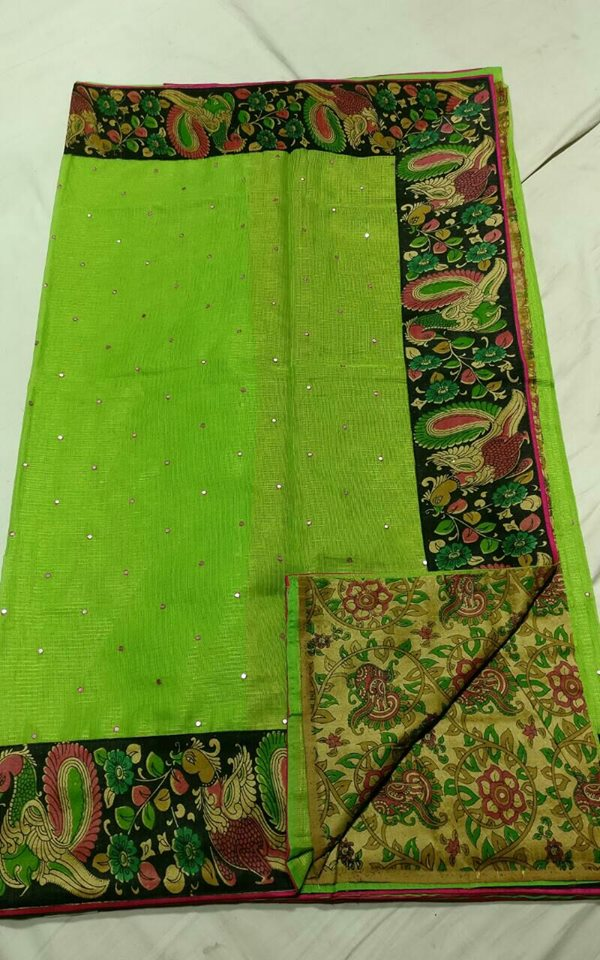 Tissue Sarees With Kalamkari Border Buy Online