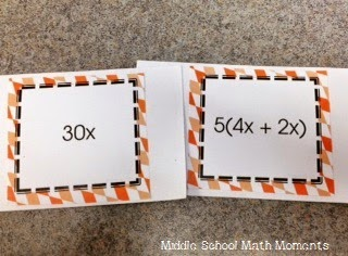 Partnering cards that use equivalent expressions.